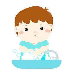cute boy washing hands in washbasin vector image vector image