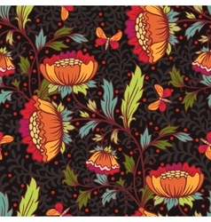 Floral pattern with flowers and butterflies vector image