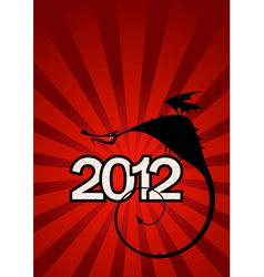 New year card with dragon symbol of 2012 vector image