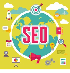 SEO - Search Engine Optimization - in Flat Design vector image