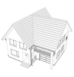 sketch of the cottage vector image