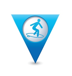 surfing icon map pointer blue vector image vector image