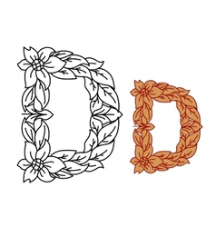 Uppercase letter D in a floral and foliate design vector image