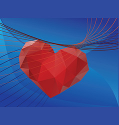 Valentins day greeting with 3d heart vector
