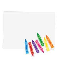 wax crayons on paper background vector image vector image
