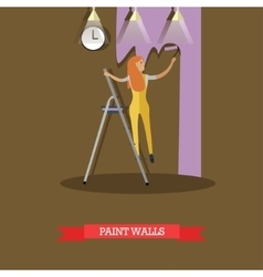 woman painting wall in flat vector image vector image