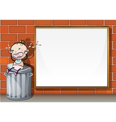 A child above the trashbin beside the empty wooden vector image vector image