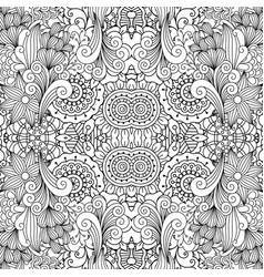 floral decorative doodle linear pattern vector image vector image