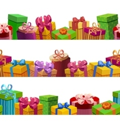 Gift Boxes Seamless Patterns Set vector image