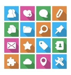 Internet Icons Set with Long Shadow vector image