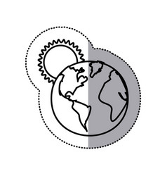 monochrome sticker contour with sunset over planet vector image vector image
