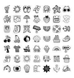 sketch icon set of summer theme vector image