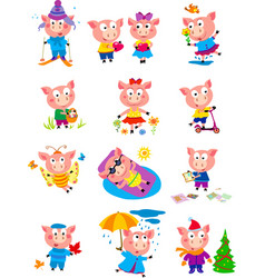 12 pigs images funny vector