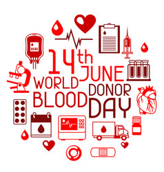 14t june world blood donor day background with vector image