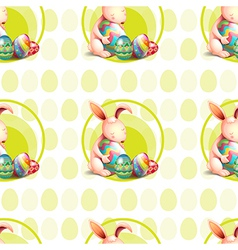 A seamless design with bunnies hugging the eggs vector image