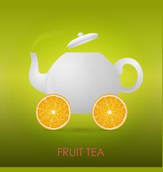 abstract fruit tea teapot orange slices vector image vector image