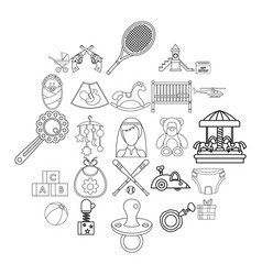 baby icons set outline style vector image