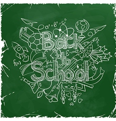 Back to School Scribbles on a Green Chalkboard vector image
