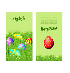 banners with easter eggs and green grass vector image