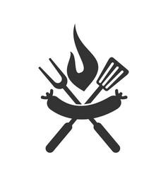 barbecue sausage spatula logo template badge vector image