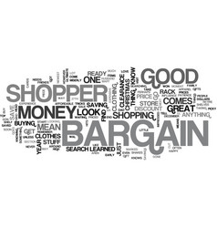 Bargain shopper text word cloud concept vector