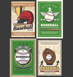 baseball player sport ball bat and trophy cup vector image