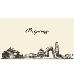 Beijing skyline drawn sketch vector image