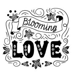 blooming love romantic vintage art black hand vector image