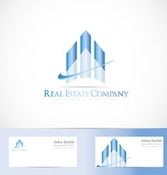 Blue real estate logo design vector
