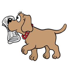 Brown labrador dog brings a newspaper in his mouth vector