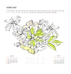 Calendar for 2012 february vector