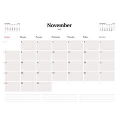 Calendar template for november 2021 business vector