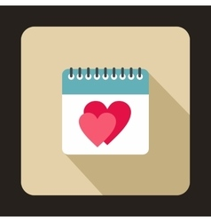 Calendar with heart icon flat style vector