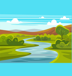 Cartoon landscape with mountains river and trees vector