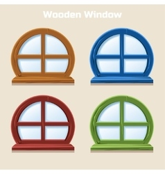 Cartoon Wooden round Colorful Window vector image