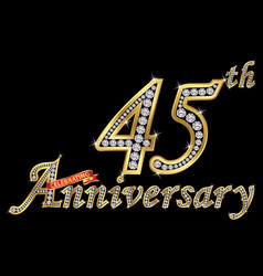 Celebrating 45th anniversary golden sign with vector