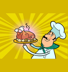 Chef cook character with roast poultry vector