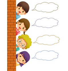 children hiding wall with speech bubble vector image