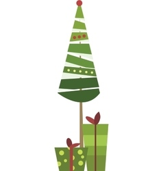 Christmas fir tree with gifts vector image vector image