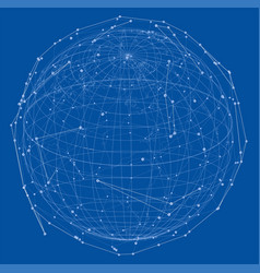Close up of earth and network lines on top of it vector