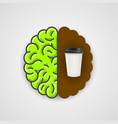 Coffee in human brain clean vector