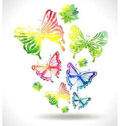 Colorful background with watercolor butterflies vector