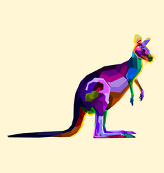 colorful kangaroo on pop art style vector image