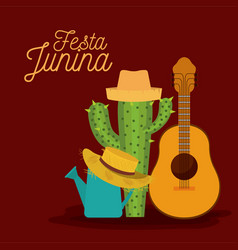 colorful poster festa junina with background of vector image