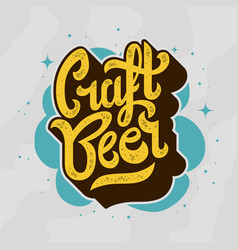 craft beer script lettering logo vector image