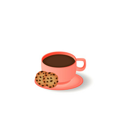 cup and saucer cookies with chocolate chips vector image
