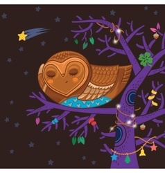 Cute cartoon owl sleep on the magic tree vector