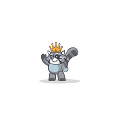 cute king animal cartoon logo vector image
