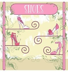 Decorative shoe showcase vector