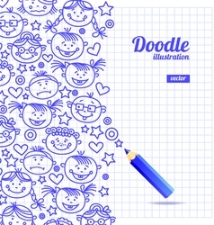 Doodle kid cartoon design vector image